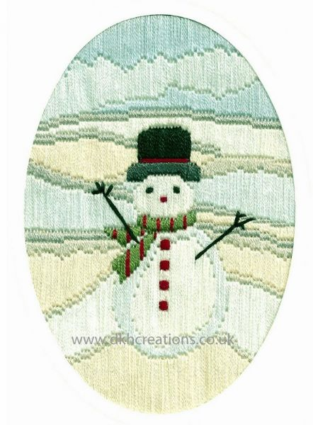 Frosty Snowman Christmas Greetings Long Stitch Card Kit